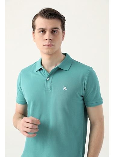 D'S Damat Regular Fit Yavruağzı Pike Dokulu T-Shirt Yeşil